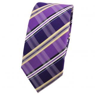 Schmale Designer Krawatte lila gelb schwarz blau gestreift - Schlips Binder Tie