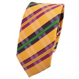 Schmale Designer Krawatte orange leuchthellorange lila magenta grün gestreift