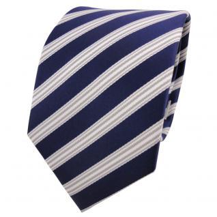 Designer Krawatte blau dunkelblau royal silber weiß gestreift - Schlips Binder