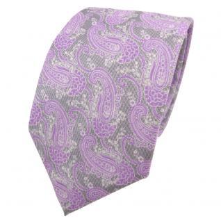 Designer Krawatte lila flieder grau silber Paisley - Schlips Binder Tie
