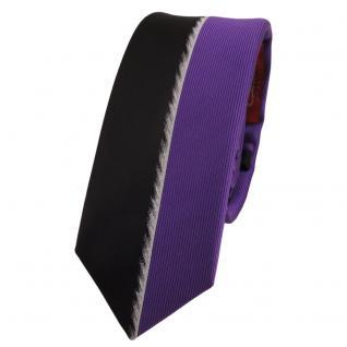 Schmale Designer Krawatte lila schwarz silber gestreift - Schlips Binder Tie