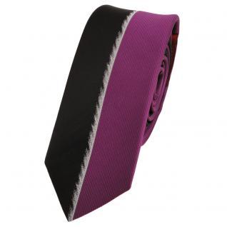 Schmale Designer Krawatte magenta fuchsia schwarz silber gestreift - Schlips Tie