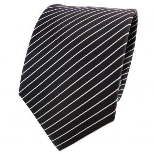 Designer Krawatte schwarz weiß silber gestreift - Schlips Binder Tie
