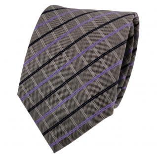 Designer Krawatte lila grau dunkelgrau blau kariert - Schlips Binder Tie