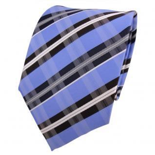 Designer Krawatte blau hellblau royal braun weiß gestreift - Schlips Binder Tie