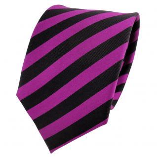 Designer Seidenkrawatte magenta fuchsia schwarz gestreift - Krawatte Seide Silk
