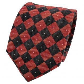 TigerTie Designer Seidenkrawatte orange schwarz silber gemustert- Krawatte Seide