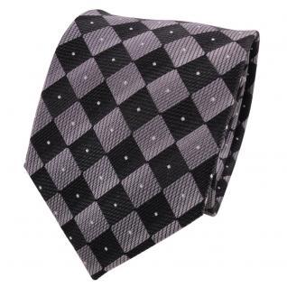 TigerTie Designer Seidenkrawatte grau schwarz silber gemustert - Krawatte Seide