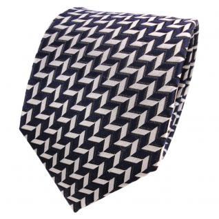 TigerTie Designer Seidenkrawatte blau silber schwarz gemustert - Krawatte Seide