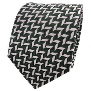 TigerTie Designer Seidenkrawatte grün silber schwarz gemustert - Krawatte Seide