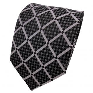 TigerTie Designer Seidenkrawatte anthrazit grau schwarz kariert - Krawatte Seide
