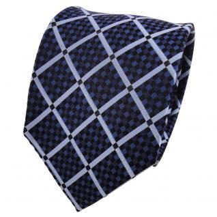 TigerTie Designer Seidenkrawatte blau royal schwarz kariert - Krawatte Seide