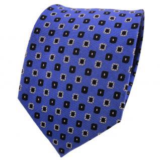 TigerTie Designer Seidenkrawatte blau schwarz grau gepunktet - Krawatte Seide