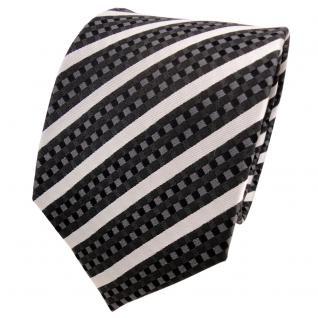 TigerTie Designer Seidenkrawatte anthrazit silber schwarz gestreift - Krawatte