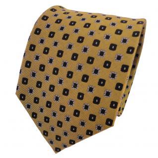 TigerTie Designer Seidenkrawatte gold grau schwarz gepunktet - Krawatte Seide