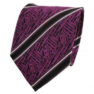 TigerTie Designer Seidenkrawatte magenta schwarz silber gestreift - Krawatte