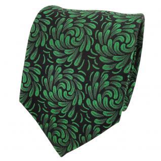 TigerTie Designer Seidenkrawatte grün laubgrün schwarz gemustert- Krawatte Seide