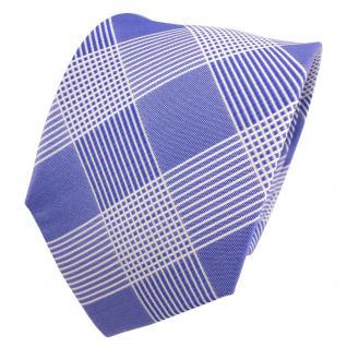 TigerTie Designer Seidenkrawatte blau hellblau weiß kariert - Krawatte Seide