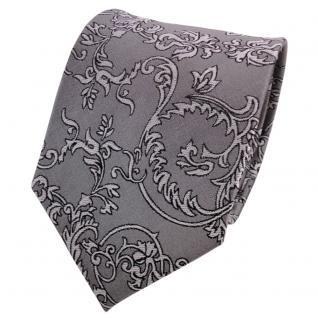 TigerTie Designer Seidenkrawatte grau silber schwarz gemustert - Krawatte Seide