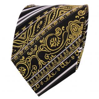 TigerTie Designer Seidenkrawatte gold schwarz silber gestreift - Krawatte Seide
