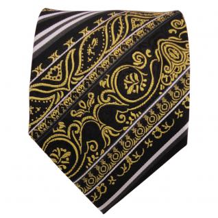 TigerTie Designer Seidenkrawatte gold schwarz silber gestreift - Krawatte Seide - Vorschau 2