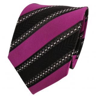 TigerTie Designer Seidenkrawatte magenta schwarz silber gestreift- Krawatte Silk