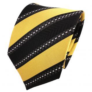 TigerTie Designer Seidenkrawatte gold schwarz silber gestreift- Krawatte Silk