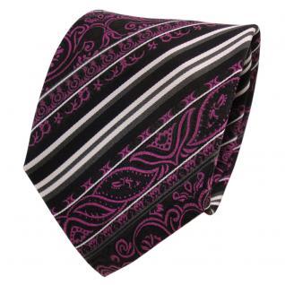 TigerTie Designer Seidenkrawatte magenta schwarz silber gestreift - Krawatte Tie