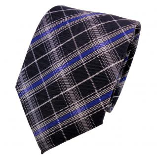 Designer Krawatte blau schwarzblau silber kariert - Schlips Binder Tie