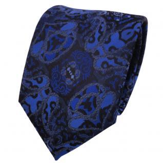 Designer Krawatte blau marine dunkelblau schwarz gemustert - Schlips Binder Tie