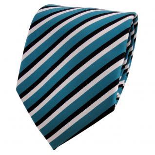 TigerTie Designer Krawatte türkis wasserblau schwarz weiß gestreift - Binder Tie