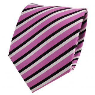 TigerTie Designer Krawatte rosa dunkelrosa schwarz weiß gestreift - Binder Tie