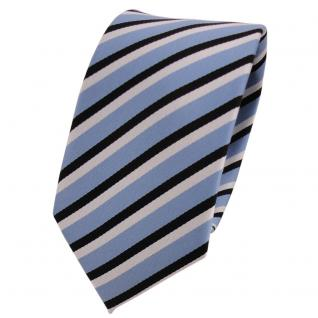Schmale TigerTie Designer Krawatte blau graublau schwarz weiß gestreift - Binder