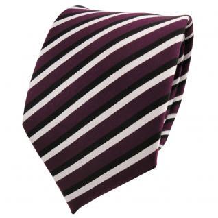 TigerTie Designer Krawatte violett lila schwarz weiß gestreift - Binder Tie