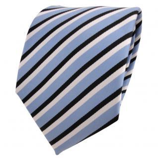 TigerTie Designer Krawatte blau graublau schwarz weiß gestreift - Binder Tie