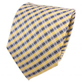 TigerTie Seidenkrawatte gelb goldgelb anthrazit kariert - Krawatte Seide Schlips