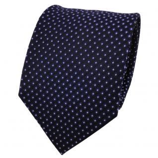 Designer Seidenkrawatte lila dunkellila silber schwarz gepunktet- Krawatte Seide