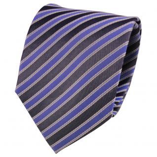 Designer Seidenkrawatte blau anthrazit grau silber gestreift- Krawatte Seide