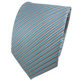 TigerTie Seidenkrawatte türkis anthrazit silber grau gestreift - Krawatte Seide