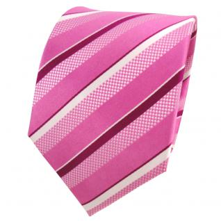 TigerTie Designer Seidenkrawatte rosa magenta silber weiß gestreift - Krawatte