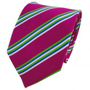 TigerTie Seidenkrawatte magenta fuchsia grün blau weiß gestreift- Krawatte Seide