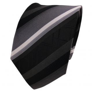 TigerTie Designer Seidenkrawatte anthrazit schwarz silber gestreift - Krawatte