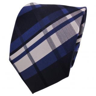 TigerTie Seidenkrawatte blau dunkelblau silber kariert - Krawatte Seide Silk