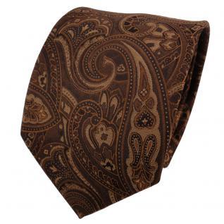 TigerTie Seidenkrawatte braun dunkelbraun Paisley - Krawatte Seide Silk