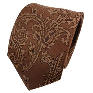 TigerTie Seidenkrawatte braun goldbraun beigebraun Paisley - Krawatte Seide Silk