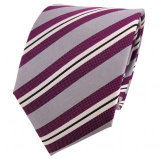 TigerTie Seidenkrawatte magenta fuchsia grau silber schwarz gestreift - Krawatte