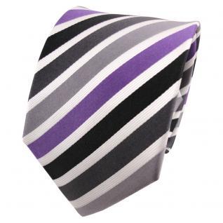 TigerTie Seidenkrawatte lila silber anthrazit weiß gestreift - Krawatte Seide