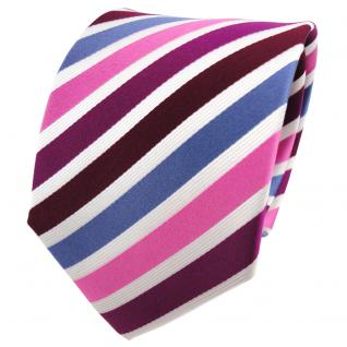 TigerTie Seidenkrawatte lila magenta rosa blau weiß gestreift - Krawatte Seide