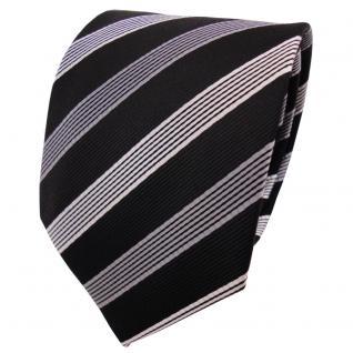 TigerTie Seidenkrawatte schwarz anthrazit silber gestreift - Krawatte Tie Seide