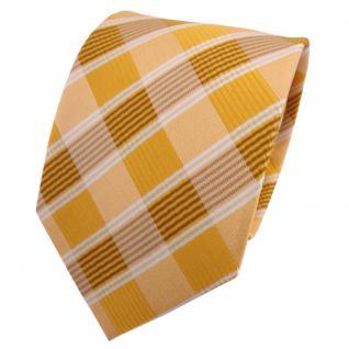 TigerTie Seidenkrawatte gelb gold blassgelb weiß kariert - Krawatte Seide Silk